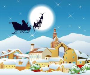 puzzel Kerstman in zijn slee getrokken door vliegende rendieren magie