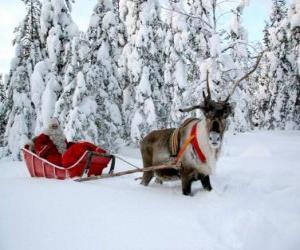puzzel Kerstman in zijn slee met rendier op sneeuw