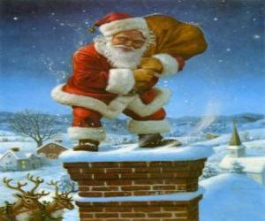 puzzel Kerstman komt binnen via de schoorsteen beladen met vele geschenken