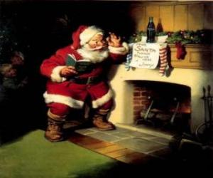 puzzel Kerstman lezen van een nota van open haard