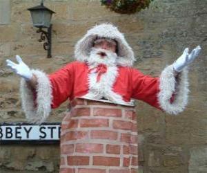puzzel Kerstman met problemen om te gaan door de schoorsteen