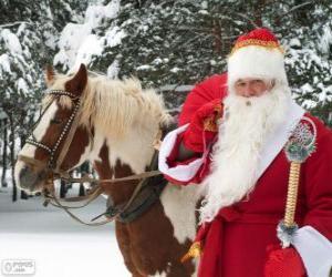 puzzel Kerstman naast een paard
