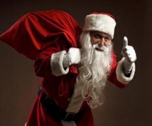 puzzel Kerstman of Santa die de zak met speelgoed en lopen heimelijk