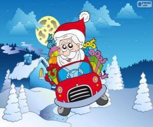 puzzel Kerstman rijdt een auto
