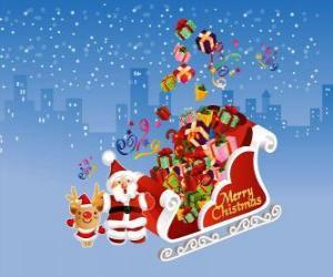 puzzel Kerstman slee vol met kerstcadeaus