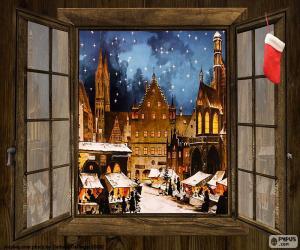 puzzel Kerstmarkt, venster