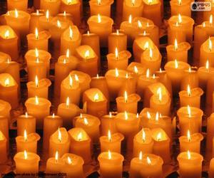 puzzel Kerstmis aangestoken kaarsen