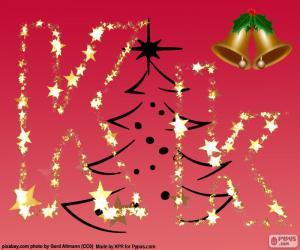 puzzel Kerstmis achtergrond, letter K