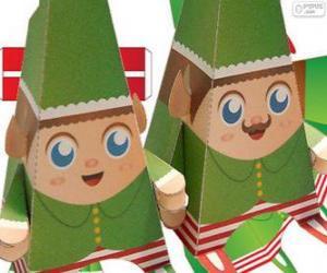 puzzel Kerstmis elfjes papier