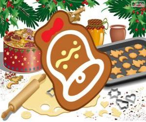 puzzel Kerstmis koekje als een klok