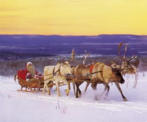 puzzel Kerstmis slee getrokken door rendieren en beladen met geschenken en Santa Claus