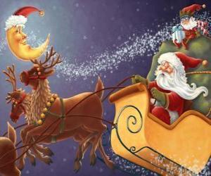 puzzel Kerstmis slee getrokken door rendieren magische en beladen met geschenken, de Kerstman en een elf