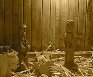 puzzel Kerststal beeldjes en houten kribbe