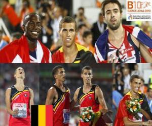 puzzel Kevin Borlee 400 m Kampioen, Michael Bingham en Martyn Rooney (2e en 3e) van het Europees Kampioenschap Atletiek 2010 in Barcelona