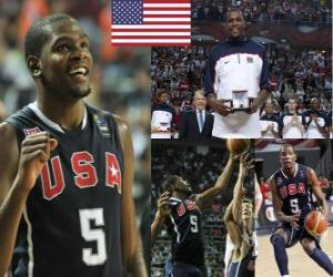 puzzel Kevin Durant de Most Valuable Player award op de 2010 FIBA World Championship