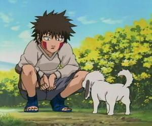 puzzel Kiba Inuzuka en zijn hond en beste vriend Akamaru maken deel uit van Team 8