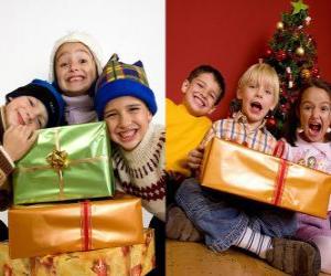 puzzel Kinderen met kerstcadeaus