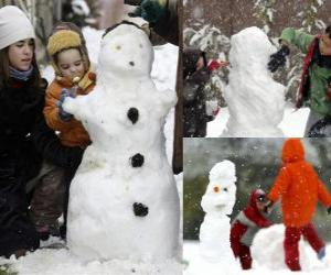 puzzel Kinderen spelen met een sneeuwpop