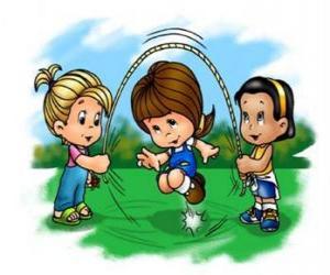 puzzel Kinderen spelen springtouw