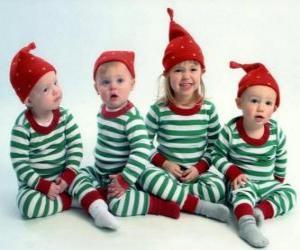 puzzel Kinderen verkleed voor de kerst