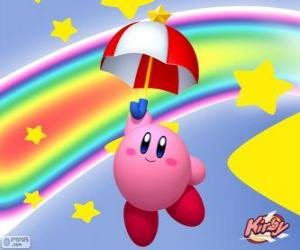 puzzel Kirby met een paraplu vliegen tussen de sterren en de regenboog