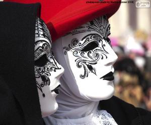 puzzel Klassieke witte Venetiaanse maskers