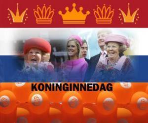 puzzel Koninginnedag, de nationale feestdag in Nederland op 30 april om de verjaardag van de koningin te vieren