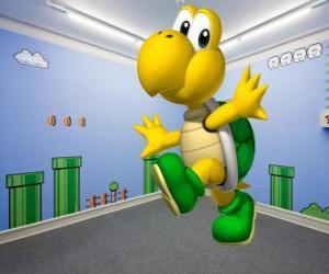 puzzel Koopa Troopa, tweevoetig schildpadden zijn vijanden in de Mario-spellen