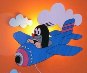 puzzel Krtek met het vliegtuig