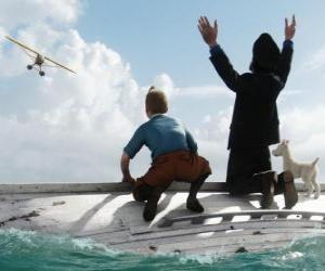 puzzel Kuifje, kapitein Haddock en Milou op een boot na een schipbreuk