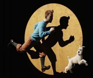 puzzel Kuifje met zijn hond Bobbie lopen