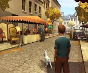 puzzel Kuifje met zijn hond Bobbie op straat