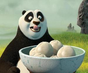 puzzel Kung Fu Panda wil eten wat koekjes gemaakt van rijst