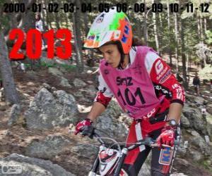 puzzel Laia Sanz, kampioen van de wereld van trial 2013