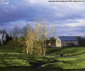 puzzel Landschap met een boerderij schuur