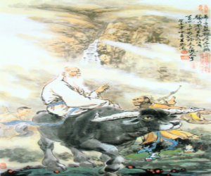 puzzel Laozi, philosofer van het oude China, de centrale figuur van het taoïsme, paardrijden een buffel