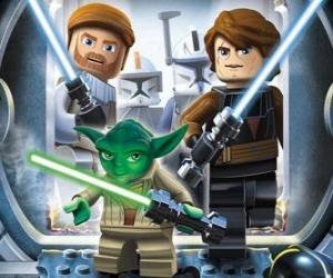 puzzel Lego Star Wars: Yoda, Luke Skywalker, Obi-Wan Kenobi