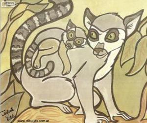 puzzel Lemur met haar baby. Tekening van Julieta Vitali
