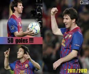 puzzel Leo Messi, topscorer in de geschiedenis van de League Spaans, 2011-2012