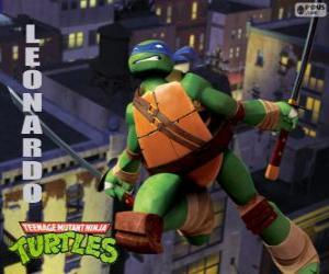puzzel Leonardo, de ninja turtle aanvallen met katana