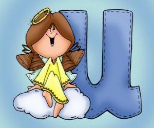 puzzel Letter U met een engel