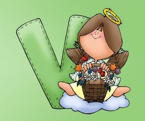 puzzel Letter V met een engel