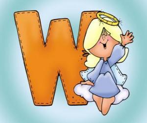puzzel Letter W met een engel