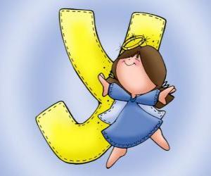 puzzel Letter Y met een engel