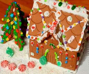puzzel Lieve en mooie kerstbal, een peperkoek huis