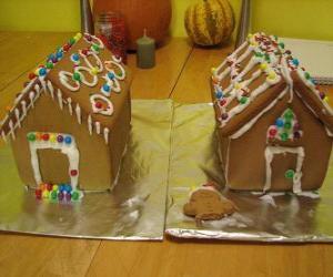 puzzel Lieve en mooie kerstbal, twee huisjes van peperkoek
