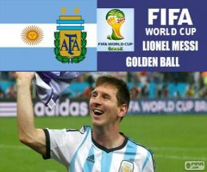 puzzel Lionel Messi, gouden bal. Brazilië 2014 Football World Cup