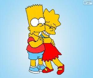 puzzel Lisa en Bart omhelsden elkaar als goede broeders