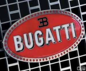 puzzel Logo van Bugatti, Frans merk van Italiaanse oorsprong