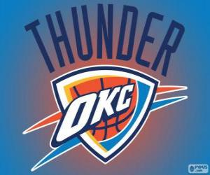 puzzel Logo van Oklahoma City Thunder, NBA-team. Northwest Division, Western Conference